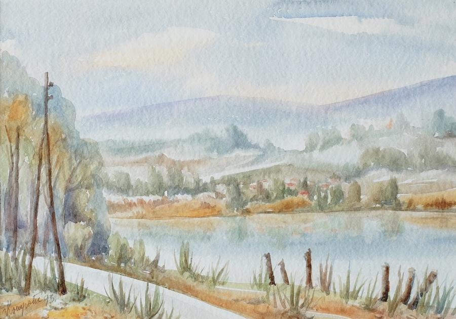 Jutro na ribnjacima - akvarel, 1993., 34x48cm
