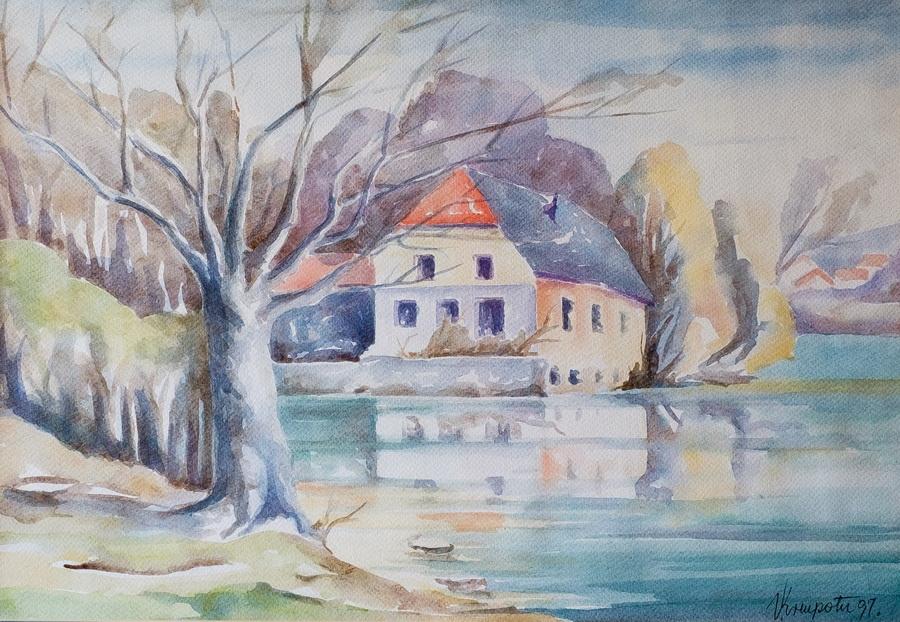 Mlin na Korani - akvarel, 1999., 37x52cm