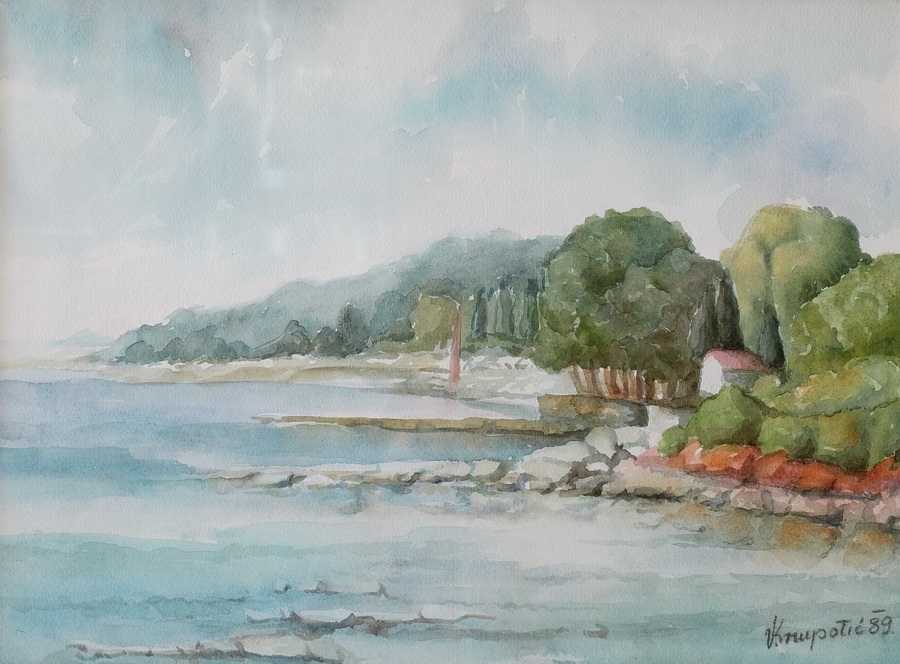 Mol u Fažani - akvarel, 1989., 34x46.5cm