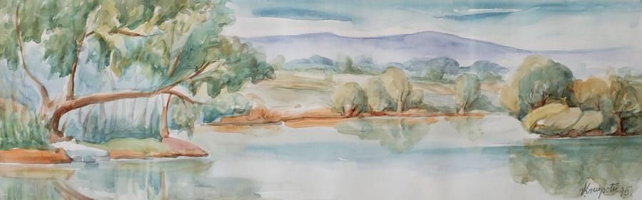 Obala Mrežnice - akvarel, 1995., 20x59cm