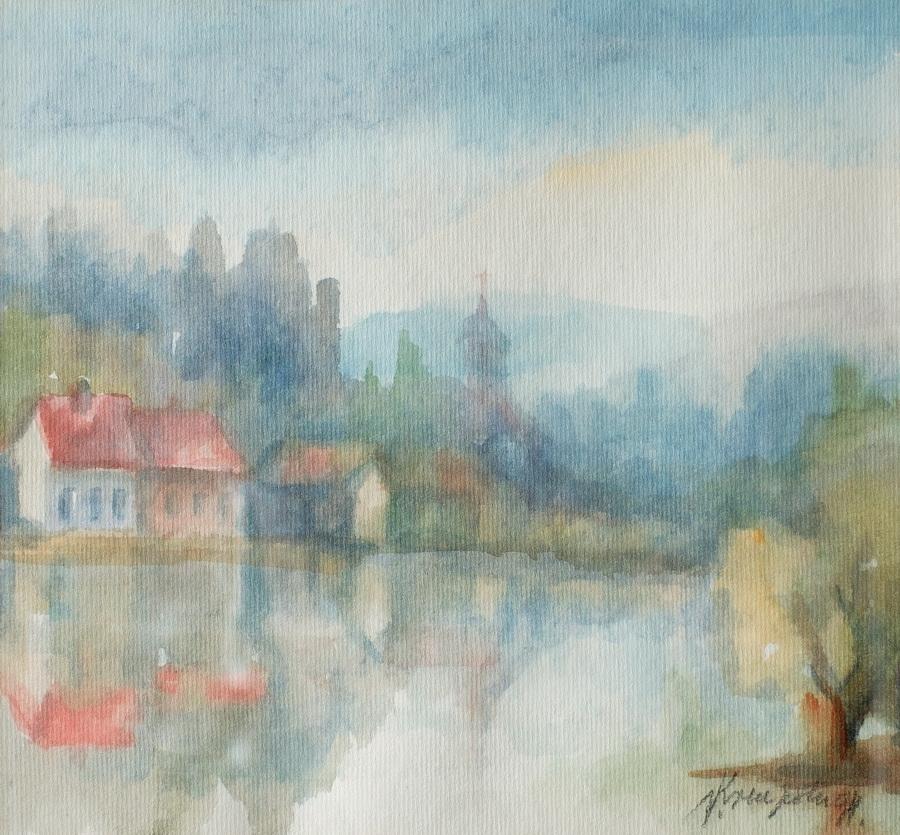 Praskozorje I - akvarel, 26x29cm