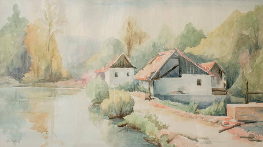 Rastoke - akvarel, 1995., 42x75cm
