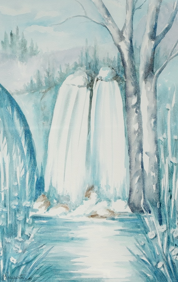 Slapovi Krke, akvarel 2015., 58x36cm